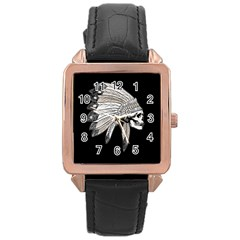 Indian Chef  Rose Gold Leather Watch  by Valentinaart