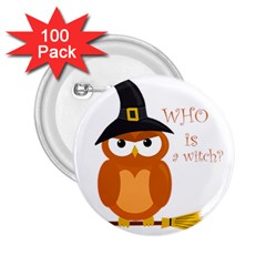 Halloween Orange Witch Owl 2 25  Buttons (100 Pack)  by Valentinaart