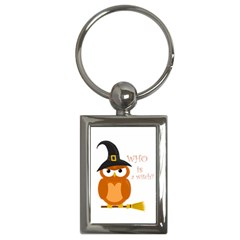 Halloween Orange Witch Owl Key Chains (rectangle)  by Valentinaart