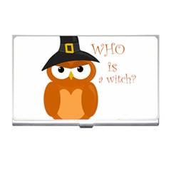 Halloween Orange Witch Owl Business Card Holders by Valentinaart