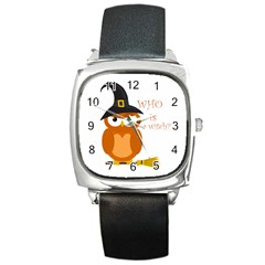 Halloween Orange Witch Owl Square Metal Watch by Valentinaart