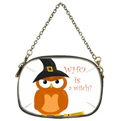 Halloween Orange Witch Owl Chain Purses (two Sides)  by Valentinaart