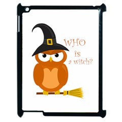Halloween Orange Witch Owl Apple Ipad 2 Case (black) by Valentinaart