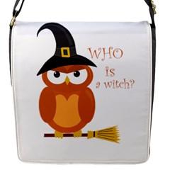 Halloween Orange Witch Owl Flap Messenger Bag (s) by Valentinaart