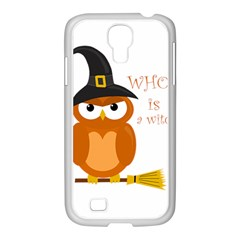 Halloween Orange Witch Owl Samsung Galaxy S4 I9500/ I9505 Case (white) by Valentinaart