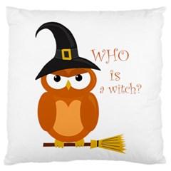 Halloween Orange Witch Owl Standard Flano Cushion Case (one Side) by Valentinaart