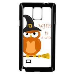 Halloween Orange Witch Owl Samsung Galaxy Note 4 Case (black) by Valentinaart