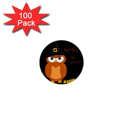 Halloween Orange Witch Owl 1  Mini Buttons (100 Pack)  by Valentinaart