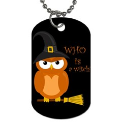 Halloween Orange Witch Owl Dog Tag (one Side) by Valentinaart