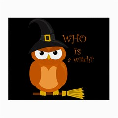 Halloween Orange Witch Owl Small Glasses Cloth by Valentinaart
