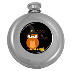 Halloween Orange Witch Owl Round Hip Flask (5 Oz) by Valentinaart
