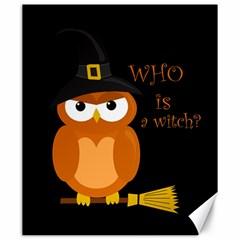 Halloween Orange Witch Owl Canvas 20  X 24   by Valentinaart