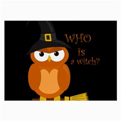 Halloween Orange Witch Owl Large Glasses Cloth (2 Side) by Valentinaart
