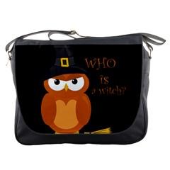 Halloween Orange Witch Owl Messenger Bags by Valentinaart