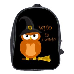 Halloween Orange Witch Owl School Bag (xl) by Valentinaart