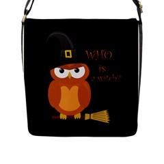 Halloween Orange Witch Owl Flap Messenger Bag (l)  by Valentinaart