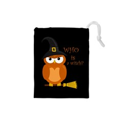 Halloween Orange Witch Owl Drawstring Pouches (small)  by Valentinaart