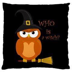 Halloween Orange Witch Owl Large Flano Cushion Case (two Sides) by Valentinaart
