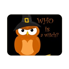 Halloween Orange Witch Owl Double Sided Flano Blanket (mini)  by Valentinaart
