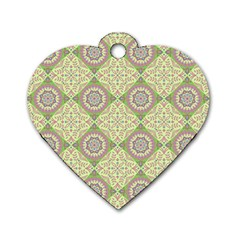 Oriental Pattern Dog Tag Heart (one Side) by ValentinaDesign