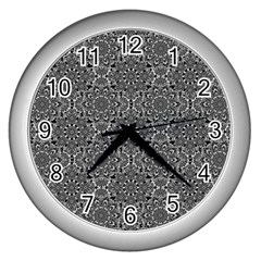 Oriental Pattern Wall Clocks (silver)  by ValentinaDesign