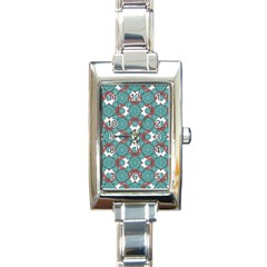 Colorful Geometric Graphic Floral Pattern Rectangle Italian Charm Watch by dflcprints