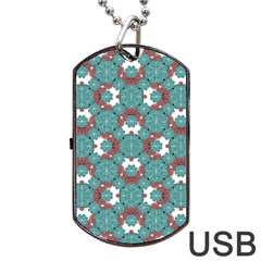 Colorful Geometric Graphic Floral Pattern Dog Tag Usb Flash (one Side) by dflcprints