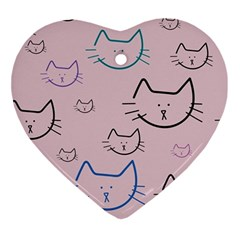 Cat Pattern Face Smile Cute Animals Beauty Ornament (heart) by Mariart