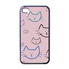 Cat Pattern Face Smile Cute Animals Beauty Apple Iphone 4 Case (black) by Mariart