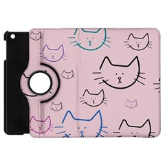 Cat Pattern Face Smile Cute Animals Beauty Apple Ipad Mini Flip 360 Case by Mariart