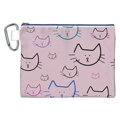 Cat Pattern Face Smile Cute Animals Beauty Canvas Cosmetic Bag (xxl) by Mariart