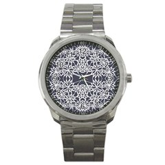Blue White Lace Flower Floral Star Sport Metal Watch by Mariart