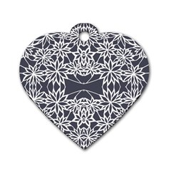 Blue White Lace Flower Floral Star Dog Tag Heart (two Sides) by Mariart