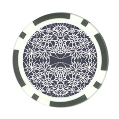 Blue White Lace Flower Floral Star Poker Chip Card Guard by Mariart