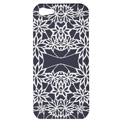 Blue White Lace Flower Floral Star Apple Iphone 5 Hardshell Case by Mariart