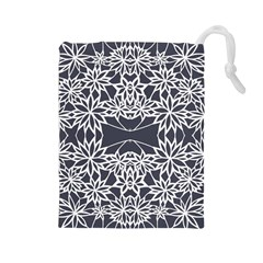 Blue White Lace Flower Floral Star Drawstring Pouches (large)  by Mariart