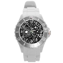 Circle Polka Dots Black White Round Plastic Sport Watch (l) by Mariart