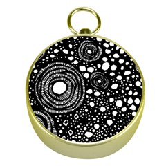 Circle Polka Dots Black White Gold Compasses by Mariart