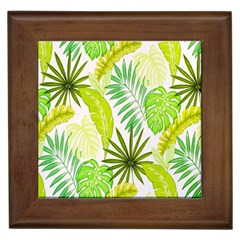 Amazon Forest Natural Green Yellow Leaf Framed Tiles by Mariart