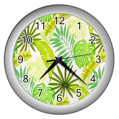 Amazon Forest Natural Green Yellow Leaf Wall Clocks (silver)  by Mariart