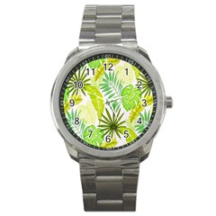 Amazon Forest Natural Green Yellow Leaf Sport Metal Watch by Mariart