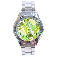 Amazon Forest Natural Green Yellow Leaf Stainless Steel Analogue Watch by Mariart