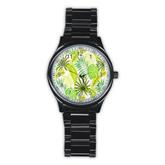 Amazon Forest Natural Green Yellow Leaf Stainless Steel Round Watch by Mariart