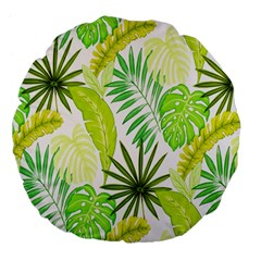 Amazon Forest Natural Green Yellow Leaf Large 18  Premium Flano Round Cushions by Mariart