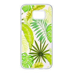 Amazon Forest Natural Green Yellow Leaf Samsung Galaxy S7 Edge White Seamless Case by Mariart