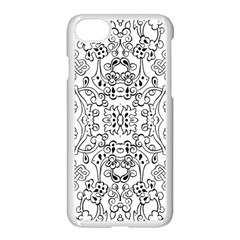 Black Psychedelic Pattern Apple Iphone 7 Seamless Case (white) by Mariart