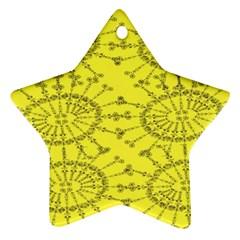 Yellow Flower Floral Circle Sexy Star Ornament (two Sides) by Mariart