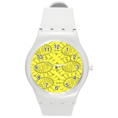 Yellow Flower Floral Circle Sexy Round Plastic Sport Watch (m) by Mariart