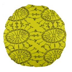 Yellow Flower Floral Circle Sexy Large 18  Premium Round Cushions by Mariart