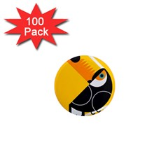 Cute Toucan Bird Cartoon Yellow Black 1  Mini Magnets (100 Pack)  by Mariart